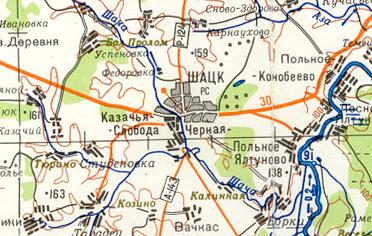 Шацк и его окрестности Карта Шацкого района